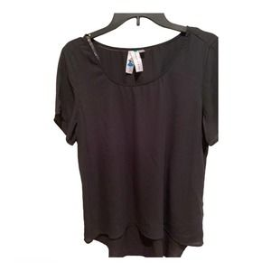 Society Girl High-Low Black Top Size Large